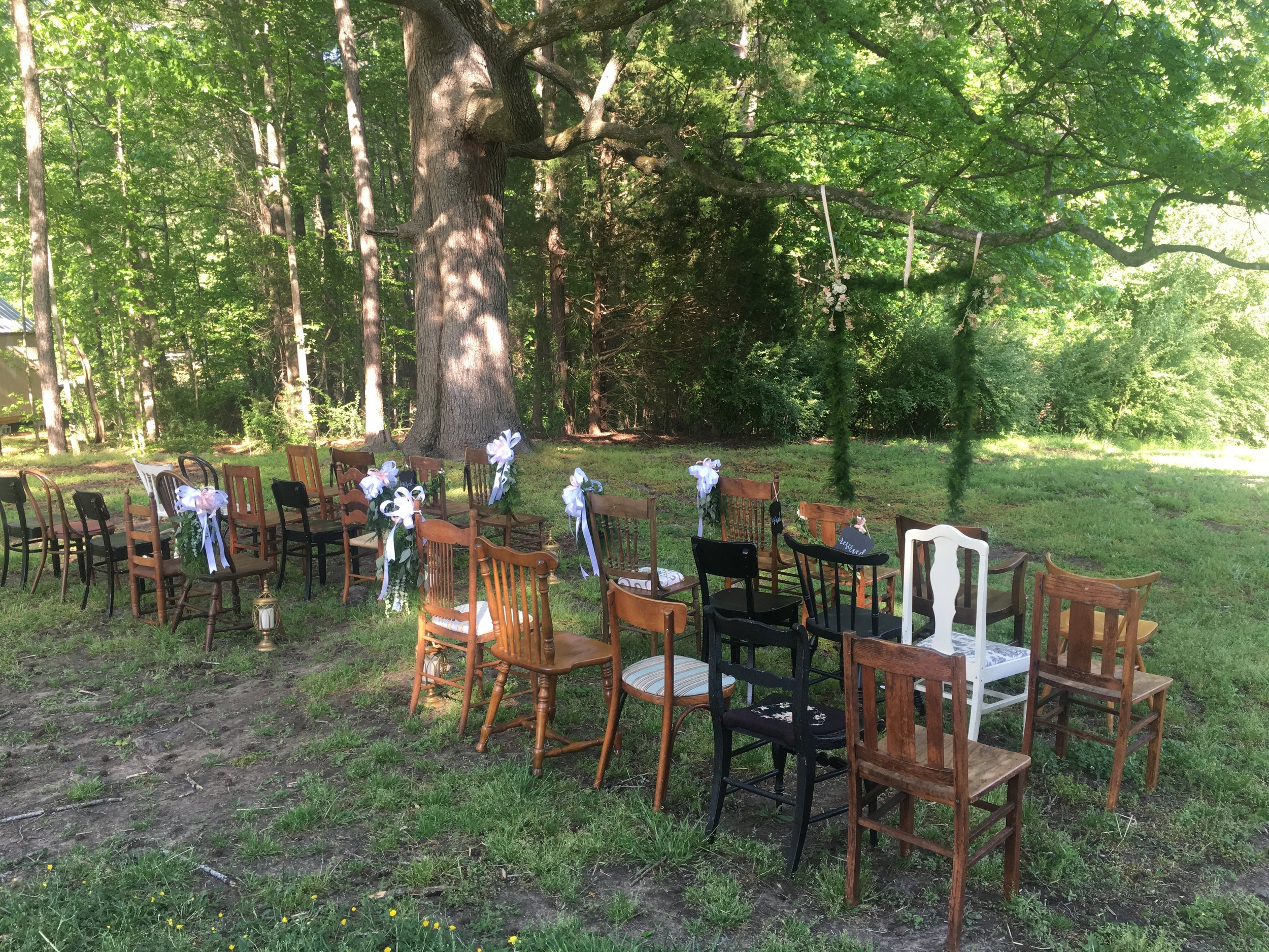Set up for a beautiful wedding ceremony.