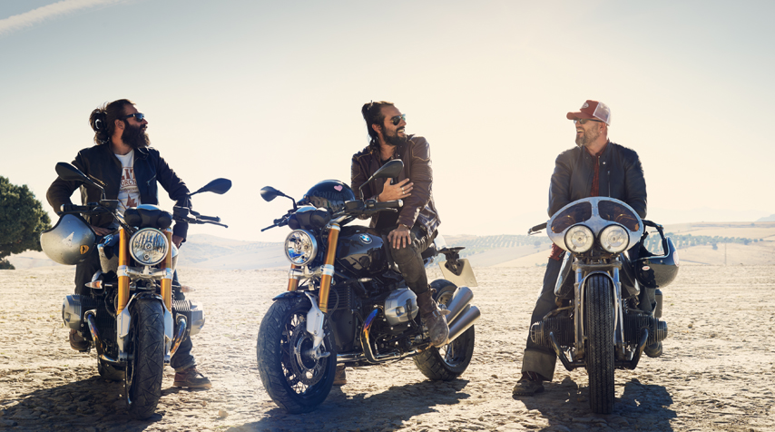 From left to right :Fred (Blitz Motorcycles), David (El Solitario) & Ola (head of Design atBMW Motorrad).