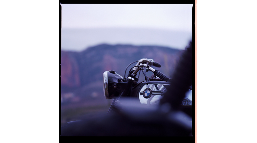 """Hugo's BMW R80/7 """"Solo Seat"""" somewhere in the mountains."""