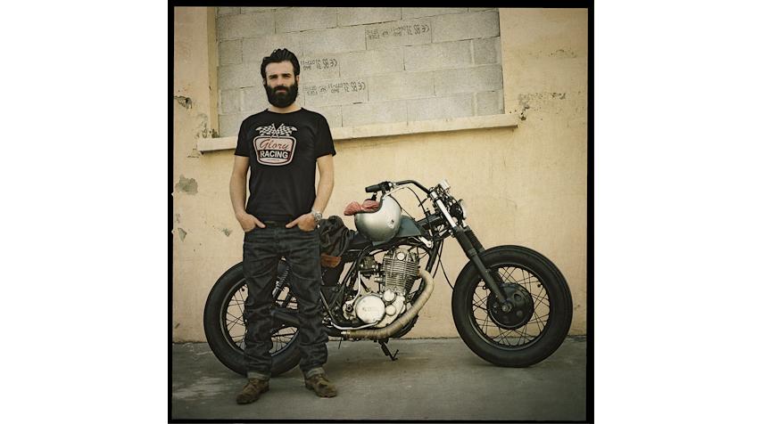 """Fred and his Yamaha 500 SR """"Bobber""""."""