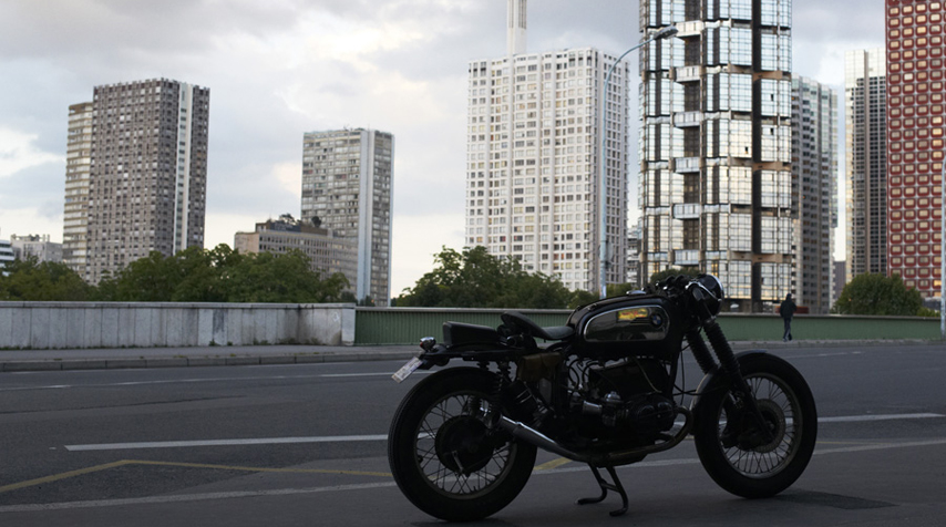 """The BMW R80 """"Solo Seat"""" on the """"Pont de Grenelle""""."""