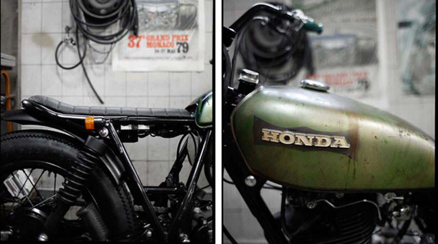 - Shortened frame with handmade loop and seat. - 1970's 125 cc honda tank mounted in its original condition.