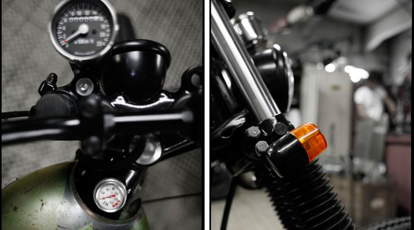 - Mini speedo including all instrument lights connected to simplified electric wiring. - Mini indicators connected to simplified electric wiring. - Shiny black powder coating of the forks, wheels and frame.