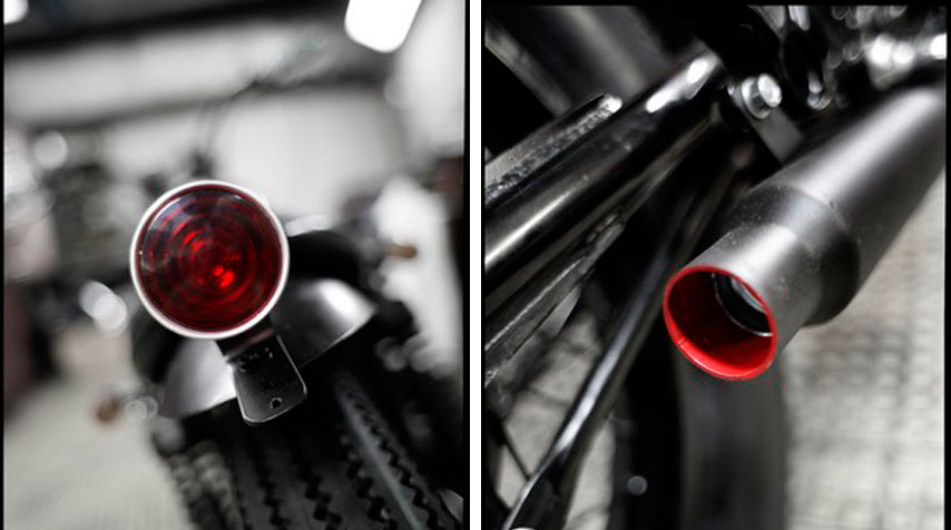 - 1950's Lucas replica tail light. Handmade alloy rear fender. - High temperature matt black painting of the outside of the short muffler. - High temperature matt red painting of its inside.