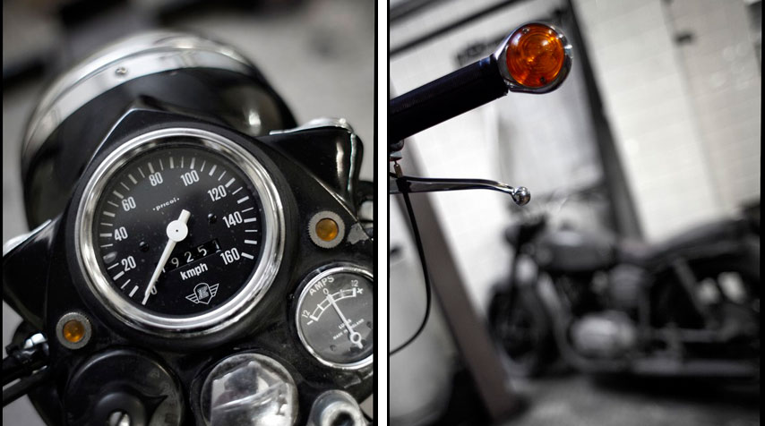 - Original speedometer with amp meter fully operational in mint condition! - Grip mounted blinkers