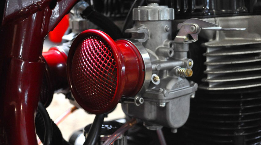 Red carmin, powder coated, handmade alloy air filters.