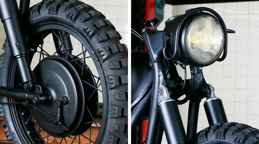 - Genuine motocross studded tyres. - Genuine headlight looking particularly handsome.