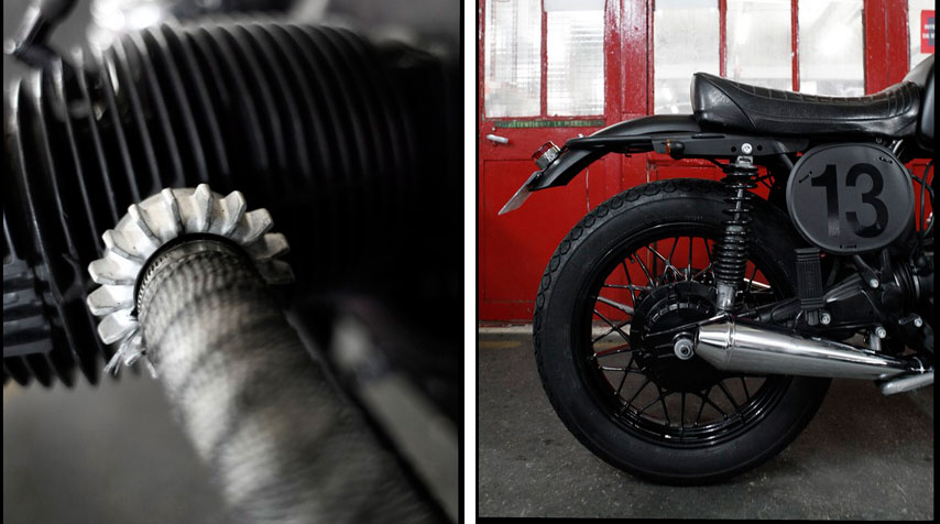- Thermic tape wrapped exhaust pipes. - Custom alloy front and rear fenders powder coated in matt black.