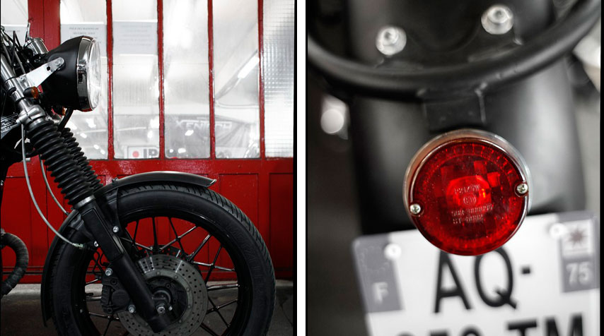 - Fork gaiters added for a 1950s look and feel and shiny black powder coated wheels. - 1960's 'Tomato' taillight.