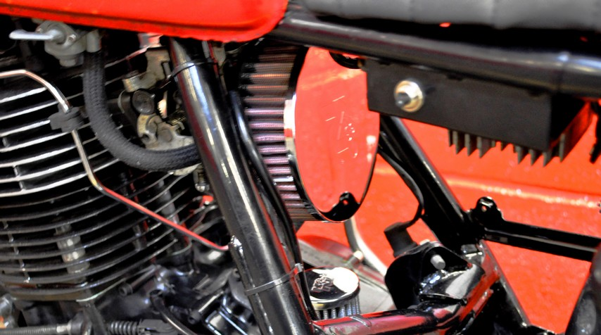"""- K&N air filter and breather. - Blitz Motorcycles bespoke """"electricity box""""."""
