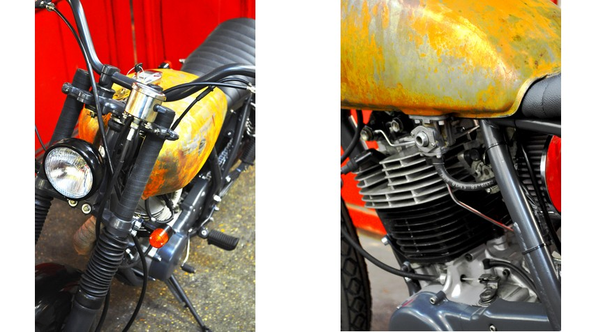 - Shiny black powder coated painting of the 70's headlight found in a swapmeet. - K&N air filter and engine breather.