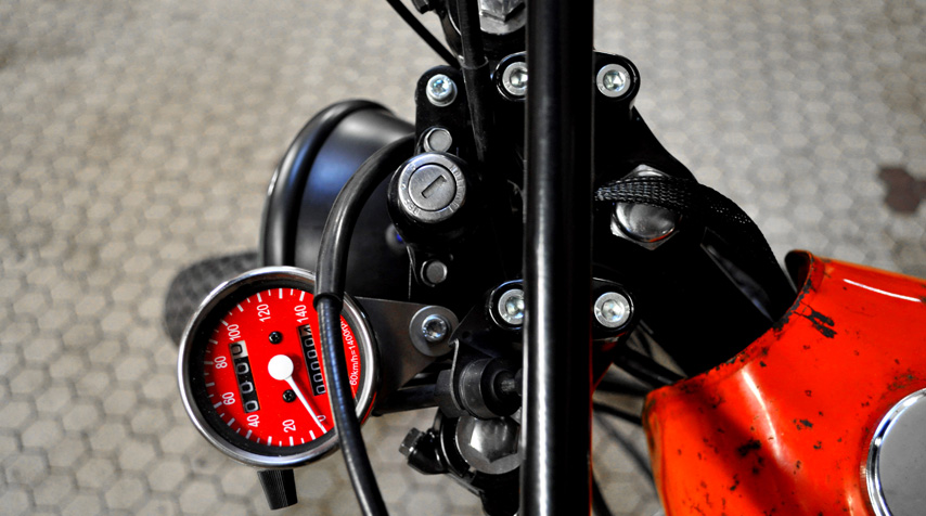 """- Royal Enfield """"scrambler"""" handlebar; - after market speedometer whose colour is the closest to the colour of tank we mounted."""