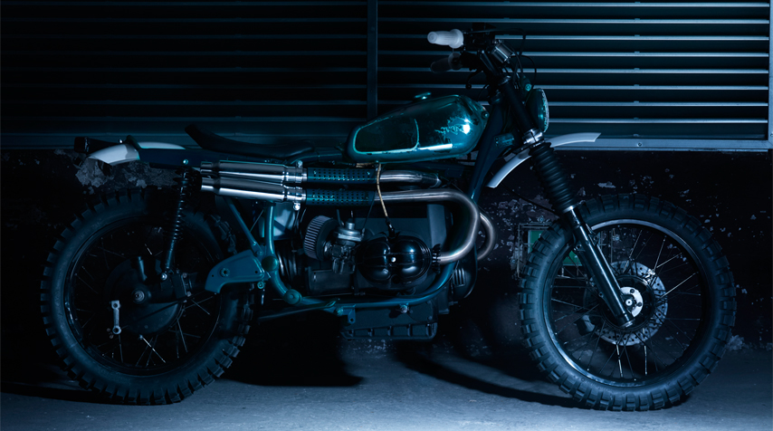 The following are 100% hand made: - Stainless steel upswept exhaust pipes; - bespoke subframe; - single flat seat.