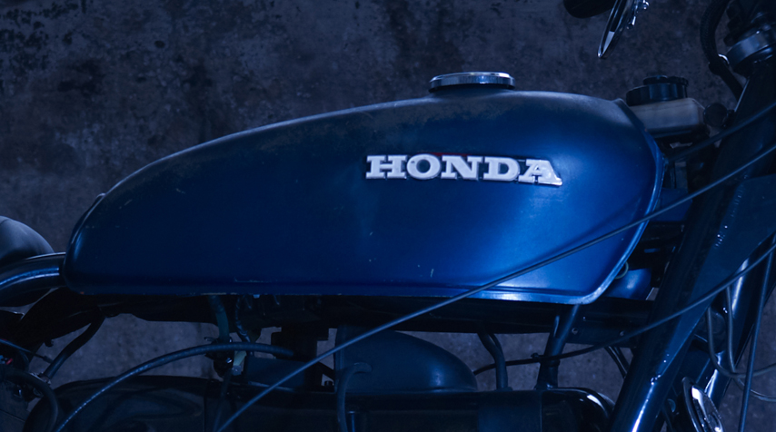 VintageHonda CB 125tank installed on the bike. As usual, installed as found.