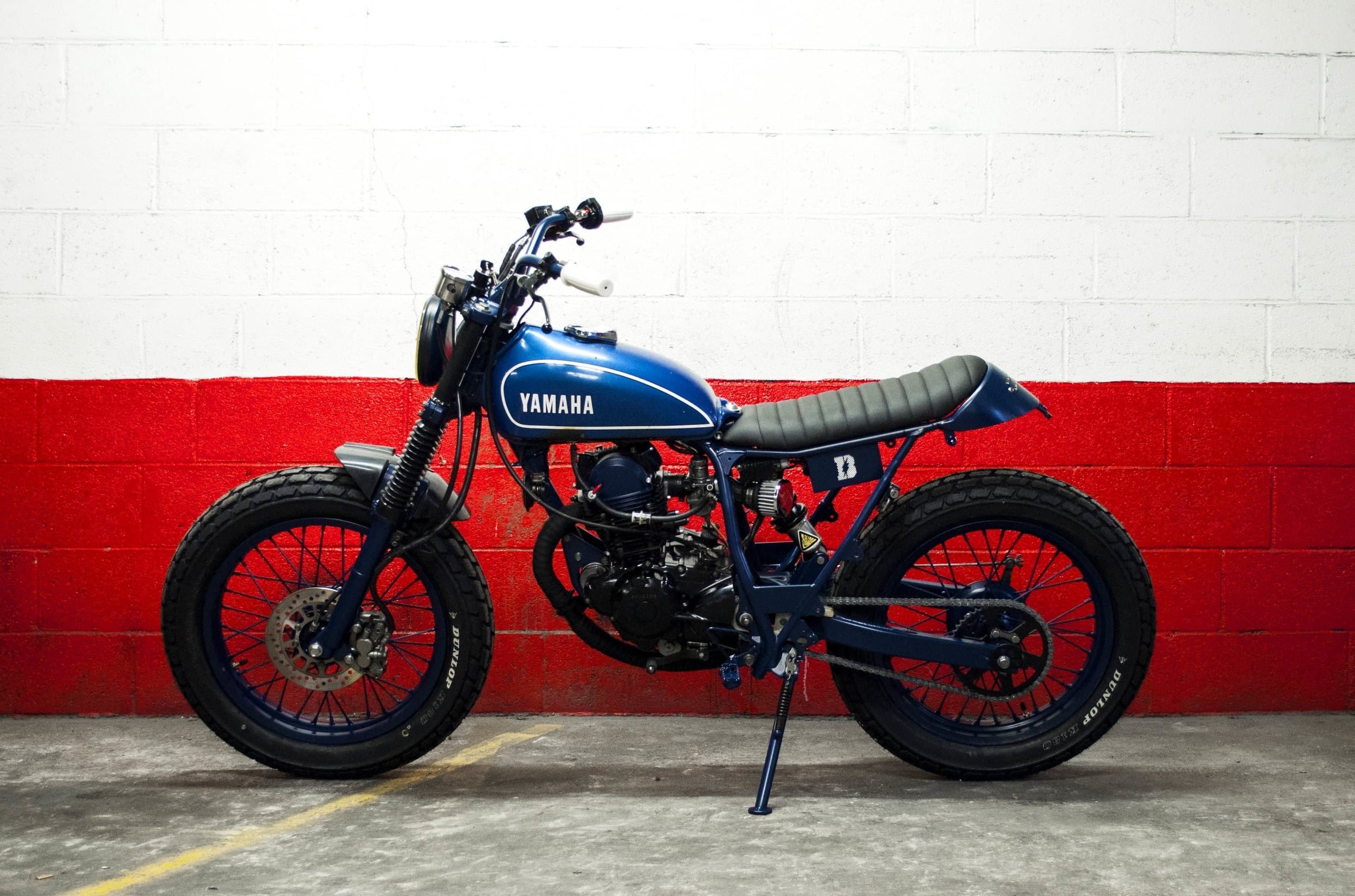 - Fully re-conditioned top engine;  - mat navy blue powder coating of the whole machine (frame, wheels, swingarm, fork legs, handlebar, headlight, foot rests, side stand, etc...).