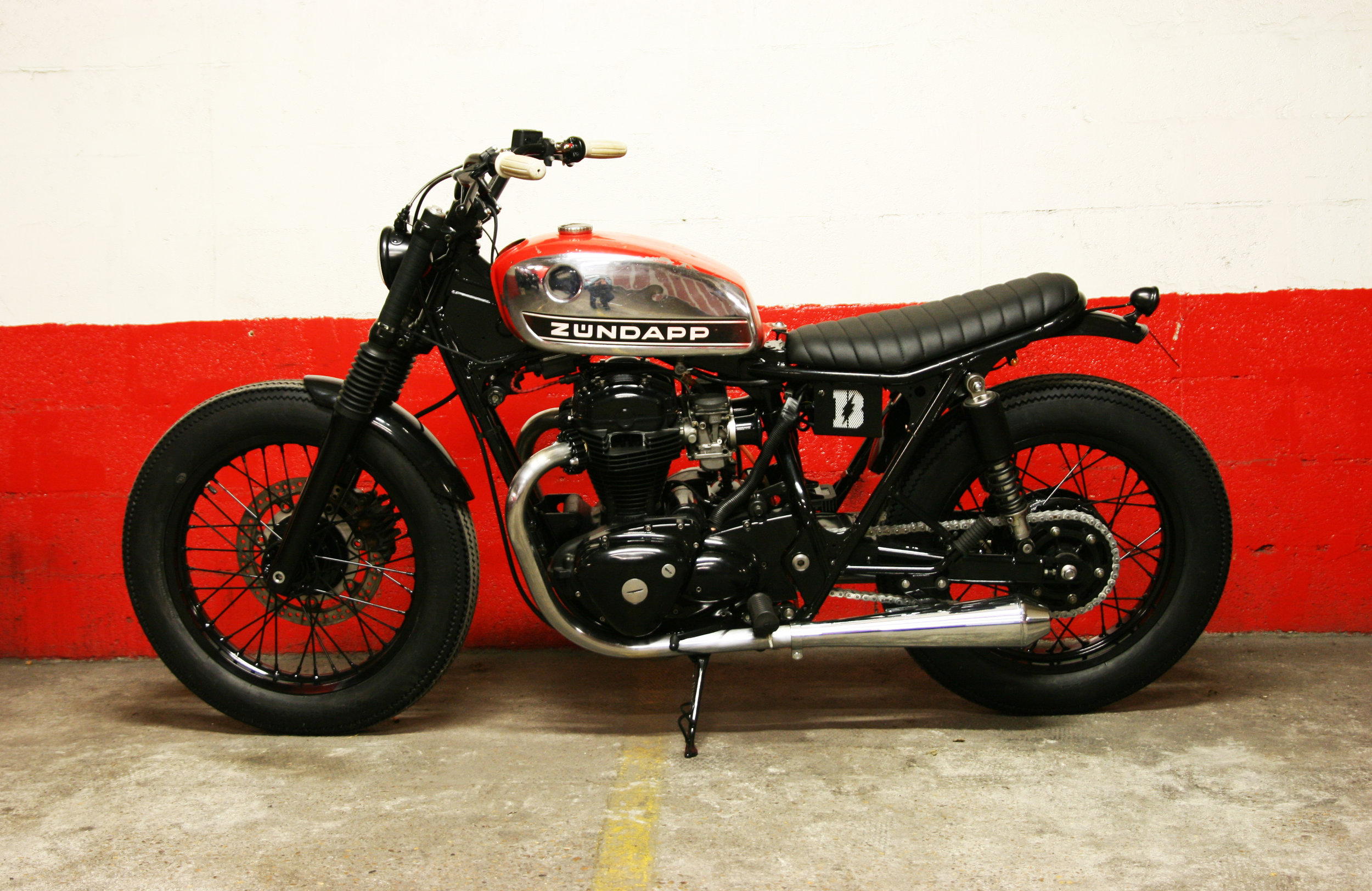 - Fully rebuilt  Kawasaki W650 's engine;  - frame shortened by 3 inches;  - fork shortened by 1 inch