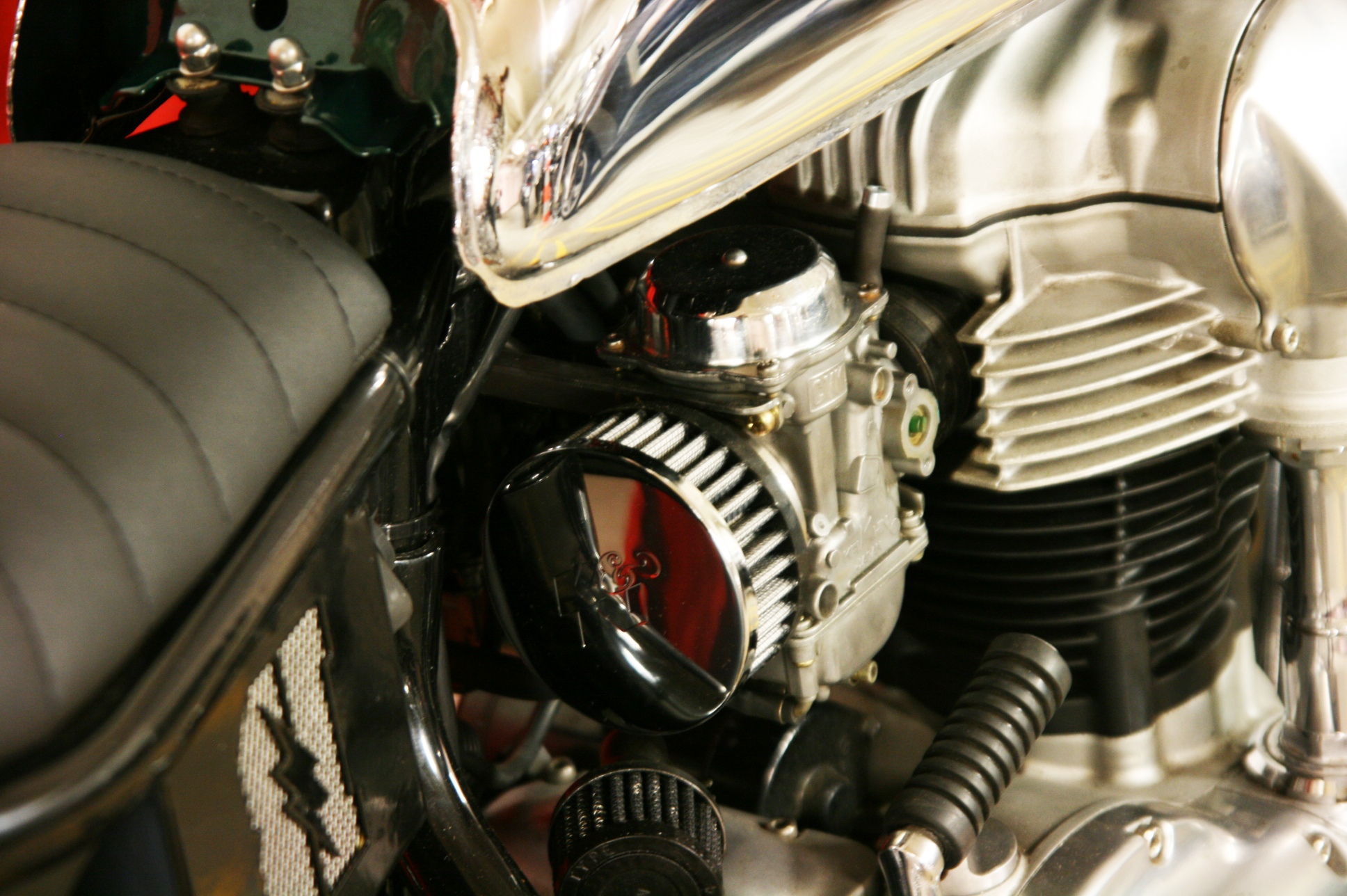 -  K&N  air filters mounted on the  Keihin  carburetors;  - re-jetted carburetors to match with the newly mounted air filters.
