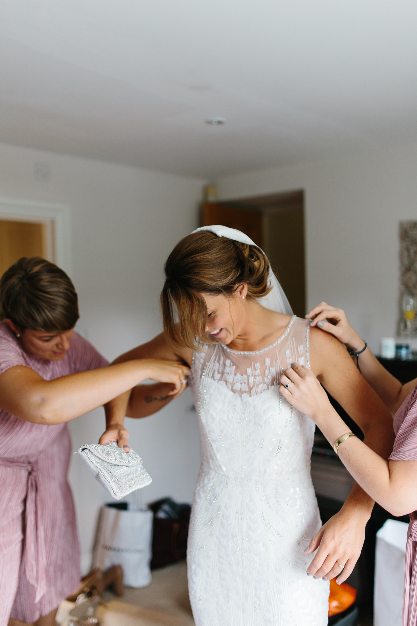 getting into the gown