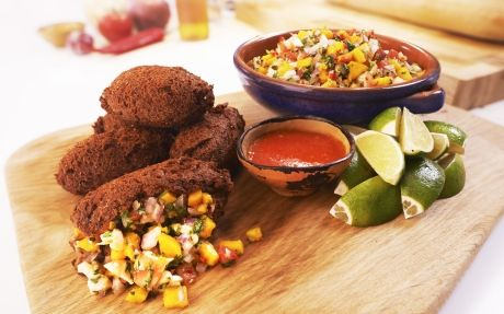 Bean Fritters with Prawn & Mango Ceviche
