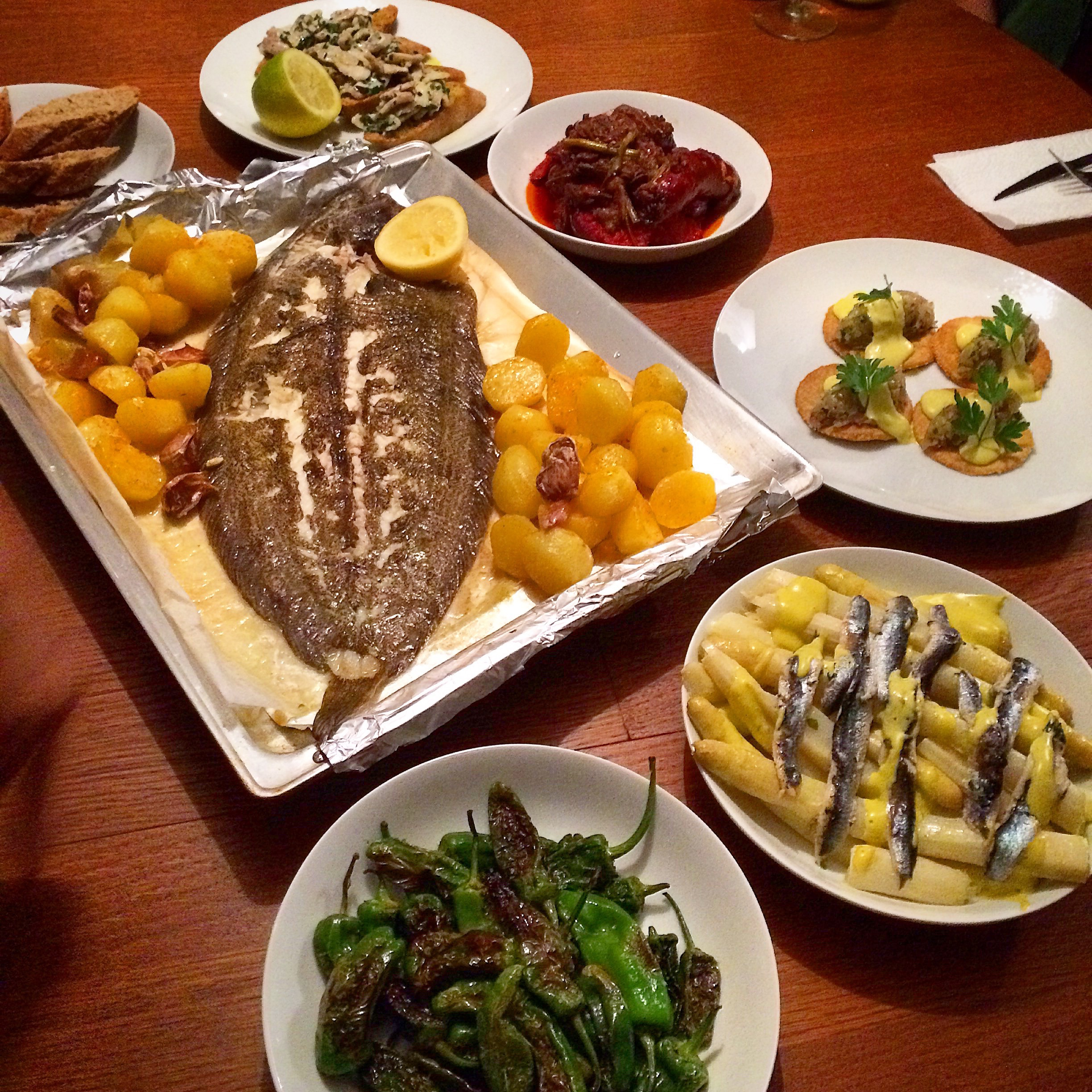 Our feast from Merca    do La Brexta     -Whole Baked Sole with lemon, garlic & paprika potatoes     -Hake Glands in Garlic Butter    -Chorizo in Red Wine    -Mackerel Tartare    -White Asparagus with Anchovy Mayo