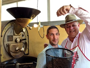 Bruno and I roasting coffee