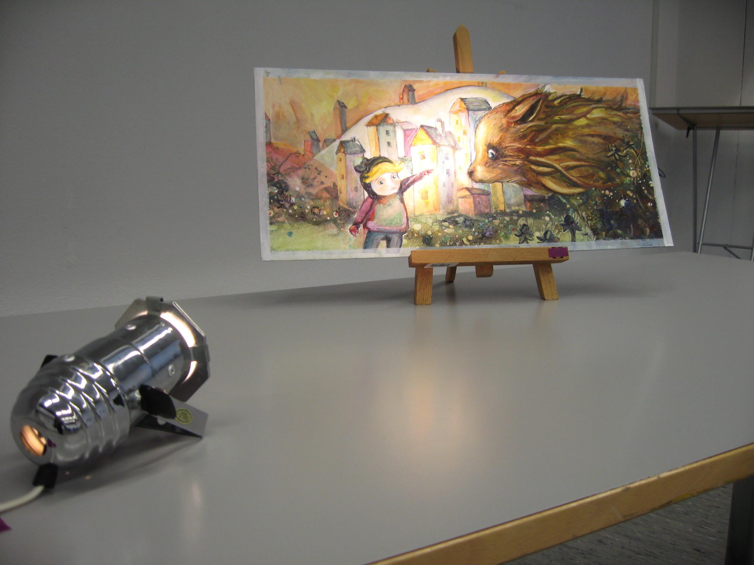 Girl and Wolf (an hommage to Elliot Dear), 2008, Oil on cardboard (25 x 55cm), lightspot.