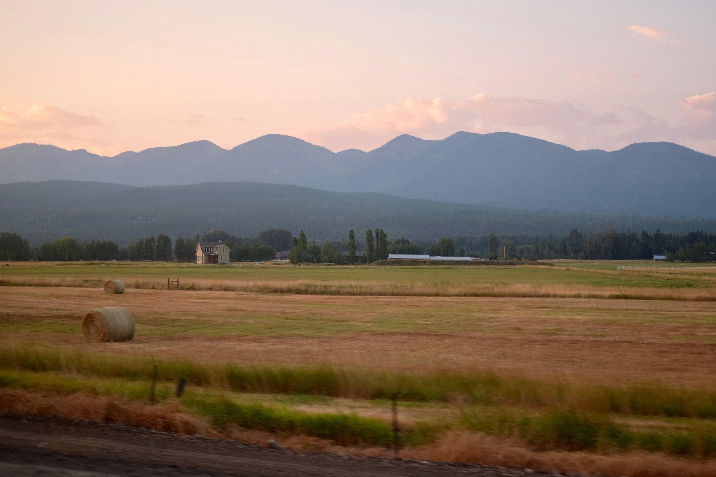 The sun setting in Whitefish, Montana