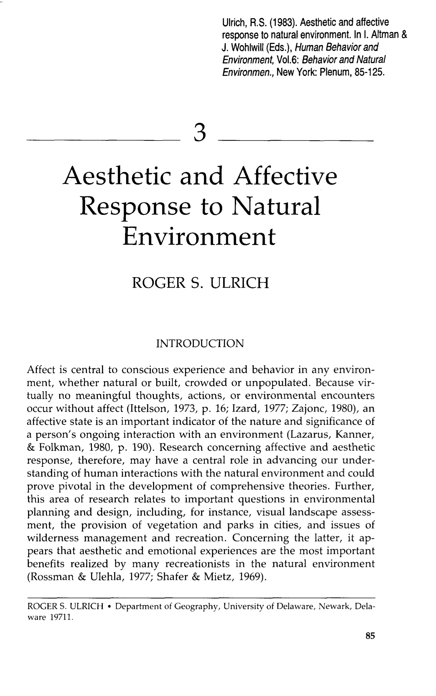 Ulrich 1983 - Aesthetic and Affective Response to Natural Environment.png