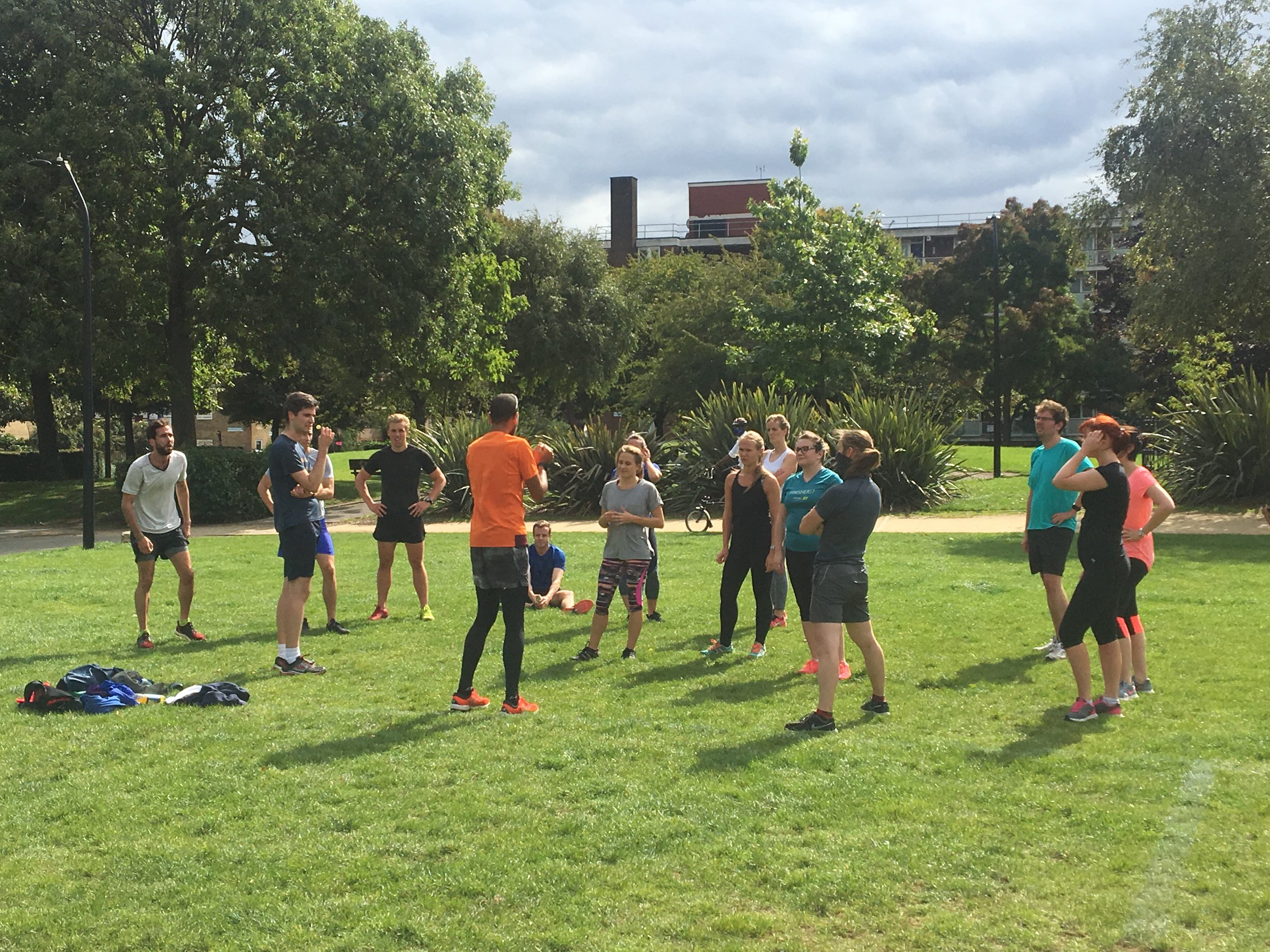 Coach Joel puts Team Trayport through their paces in preparation for the Square Mile Relay