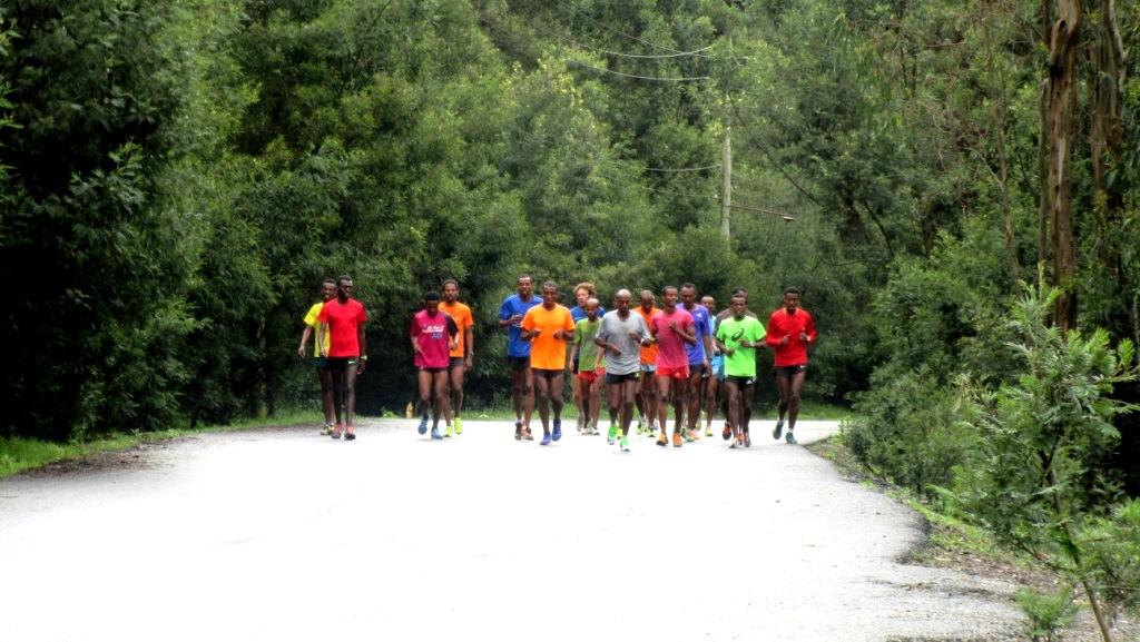 FastEthiopian runners tacking a hill session in Sendafa, Addis Ababa