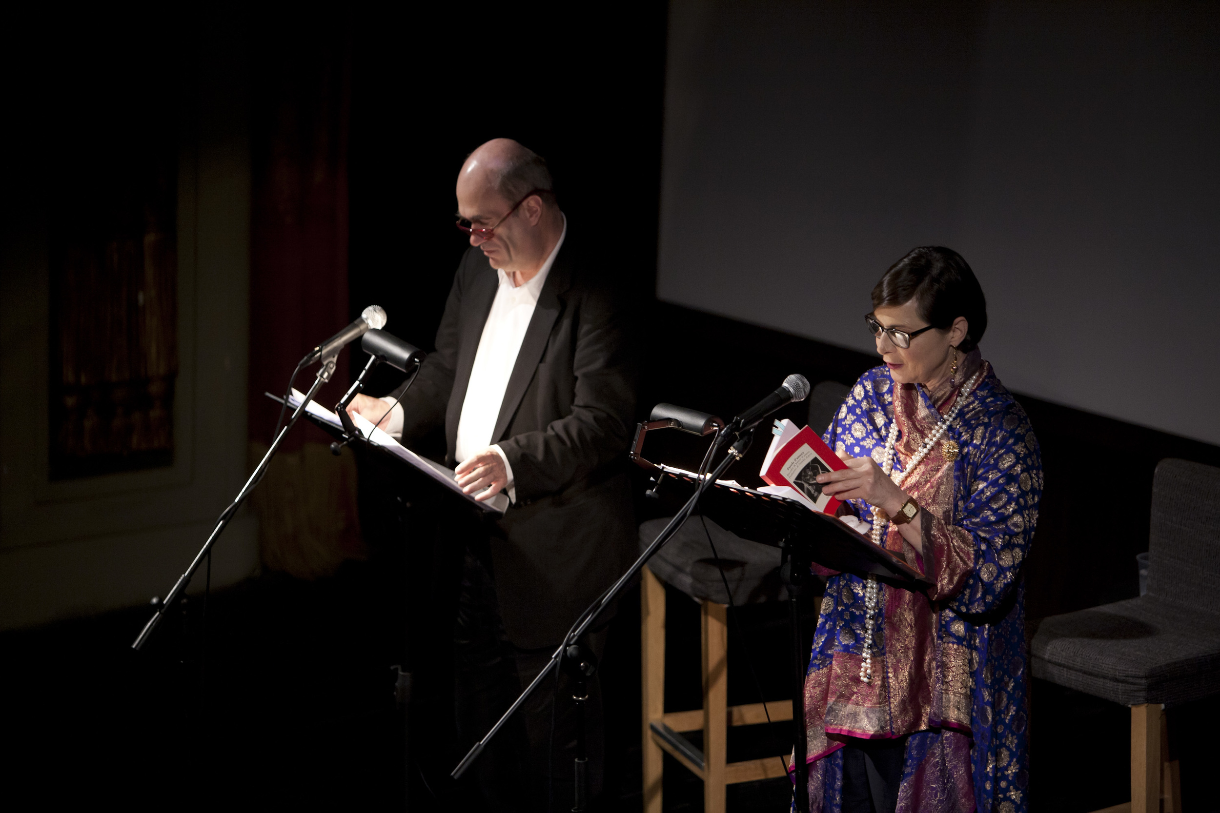 """Colm Toibin and Isabella Rossellini during their """"Love Letters"""" recital at the Cinema Odeon"""