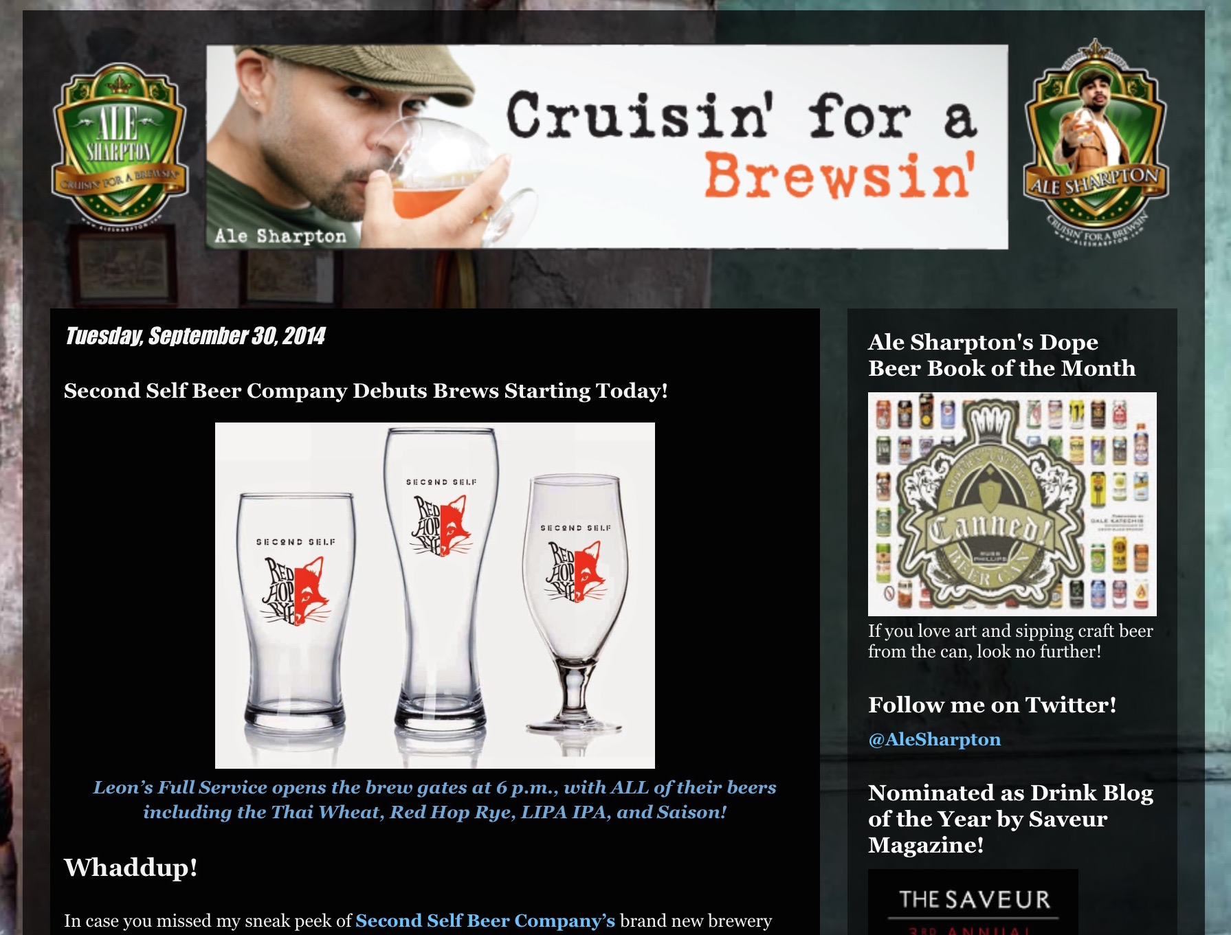 Ale Sharpton,   September 30, 2014  Second Self Beer Company Debuts Brews Starting Today!