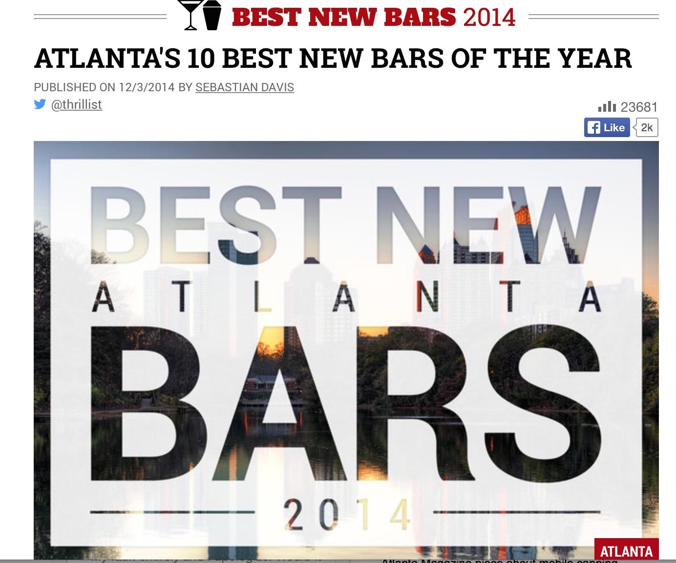 Thrillist  , December 3rd, 2014, Atlanta's 10 Best New Bars