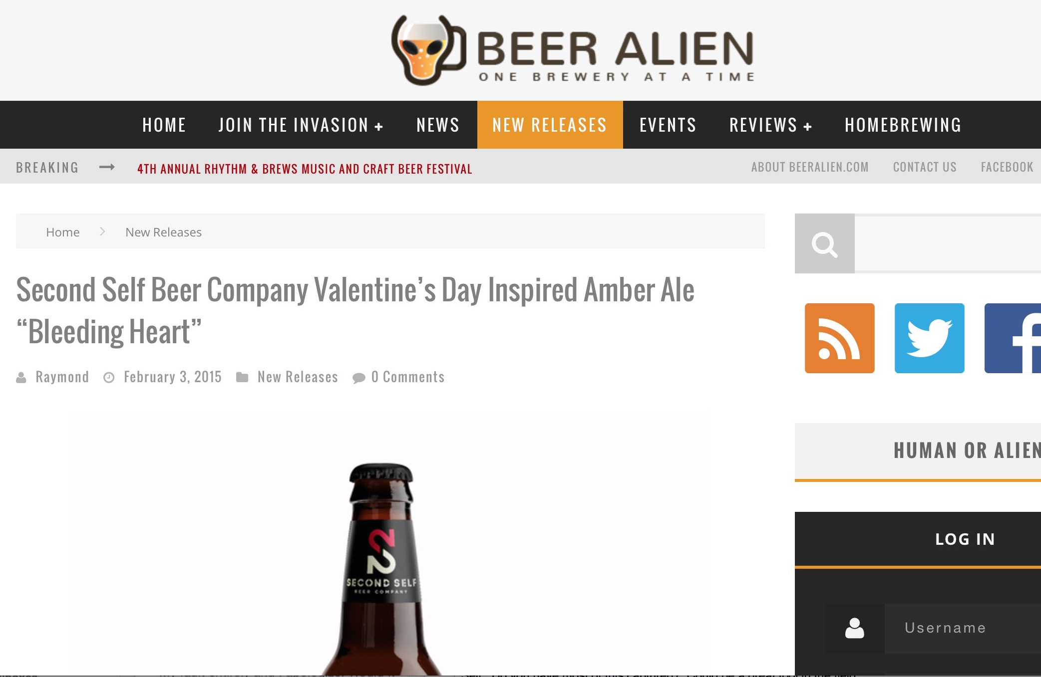 "Beer Alien  ,  February 3rd, 2015   Valentine's Day Inspired Amber Ale ""Bleeding Heart"" ,"