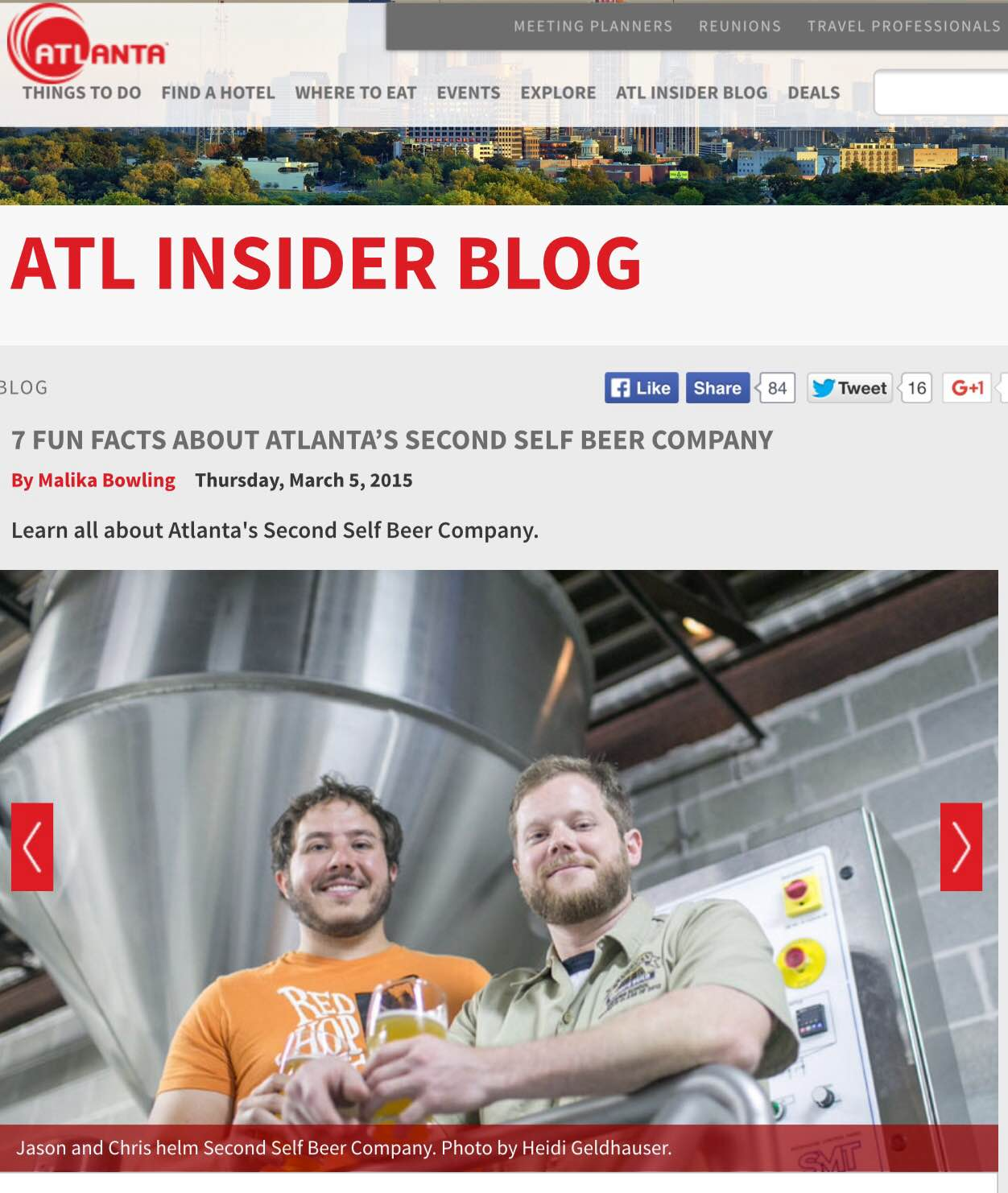 Atlanta.net   ,  March 5th, 2015,  7 Fun Facts about Atlanta's Second Self Beer Company
