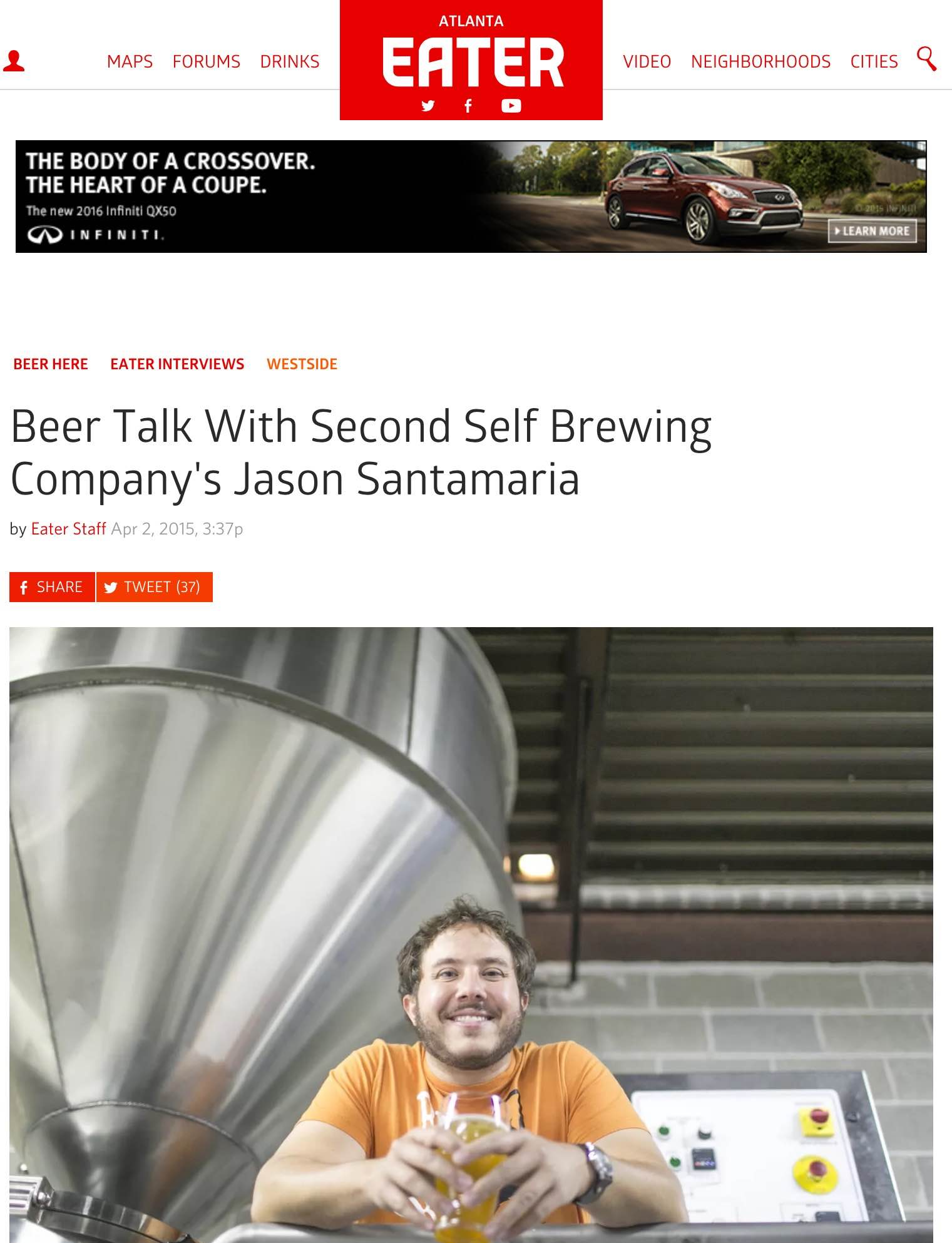 Eater.com    , April 2nd, 2015, Beer Talk With Second Self Brewing Company's Jason Santamaria