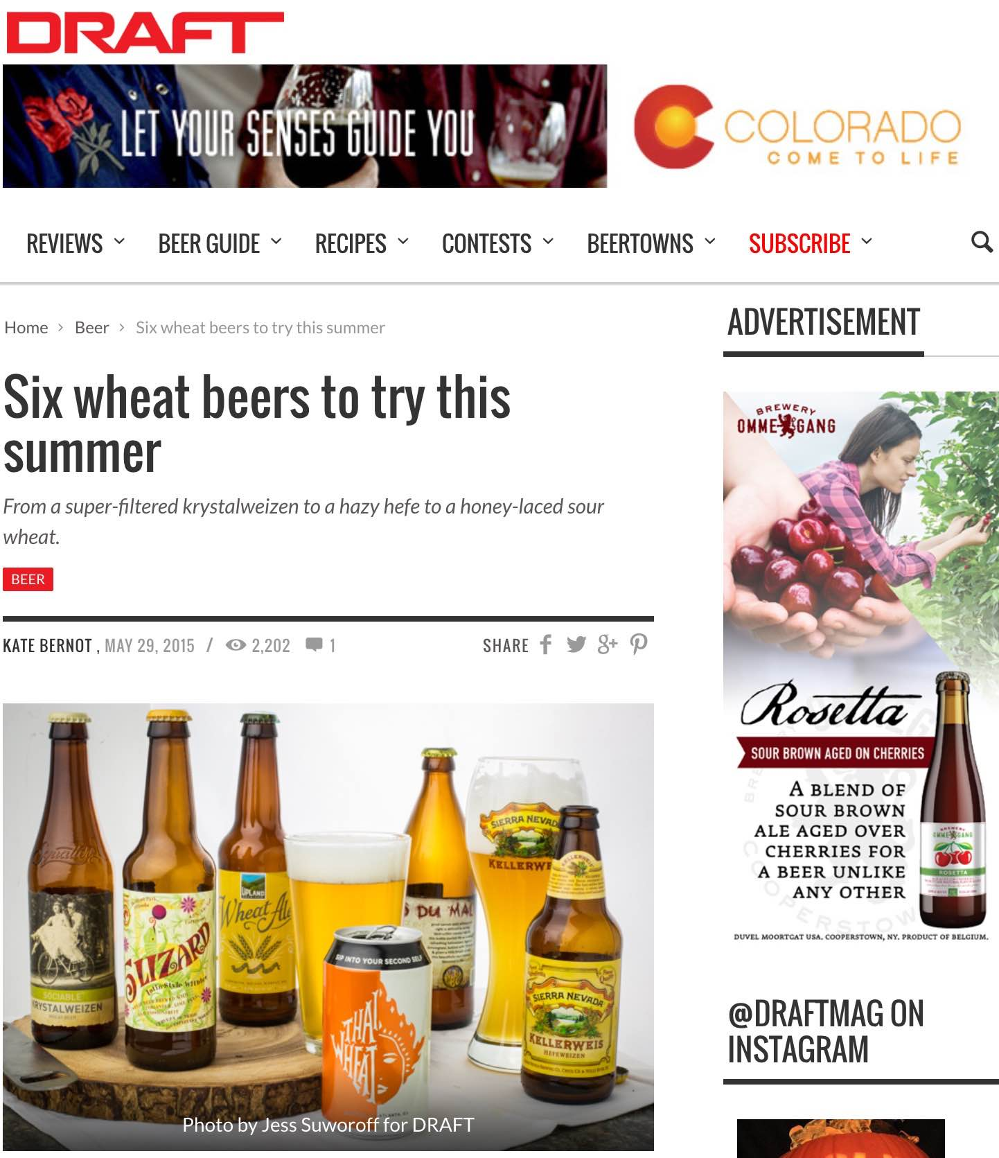 Draft Magazine    , May 29th, 2015,  Six Wheat Beers To Try This Summer