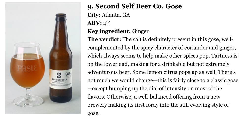 "Paste Magazine    , June 19th, 2015  ""Blind-Tasting and Ranking 12 of the Best American Gose Beers"""