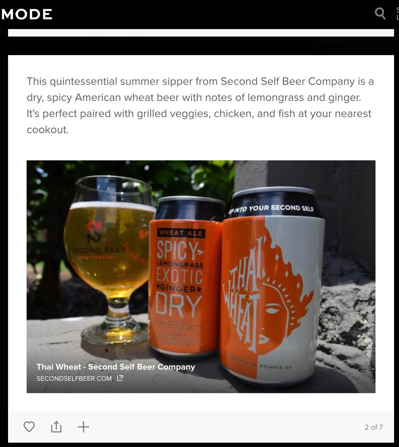 """Mode.com    , June 29th, 2015,  """"It's in the Can: Toast Summer With These Atlanta Brews"""""""