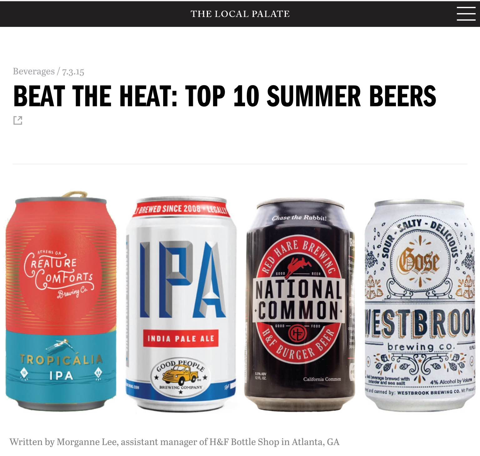 "The Local Palate    , July 3rd 2015  ""Beat the heat: Top 10 Summer beers"""