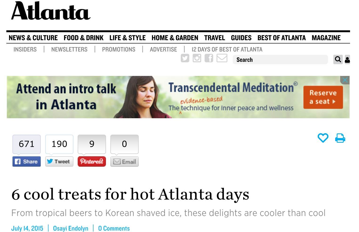 "Atlanta Magazine    , July 14th, 2015  ""6 cool treats for hot Atlanta days"""