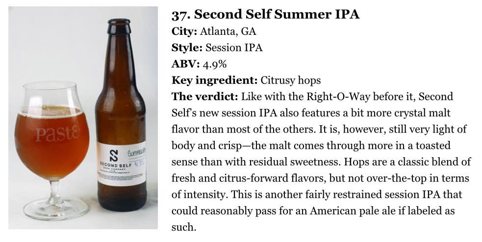 "Paste Magazine    , July 24th, 2015  ""Blind-Tasting and Ranking 90 of the Best Session Beers"""