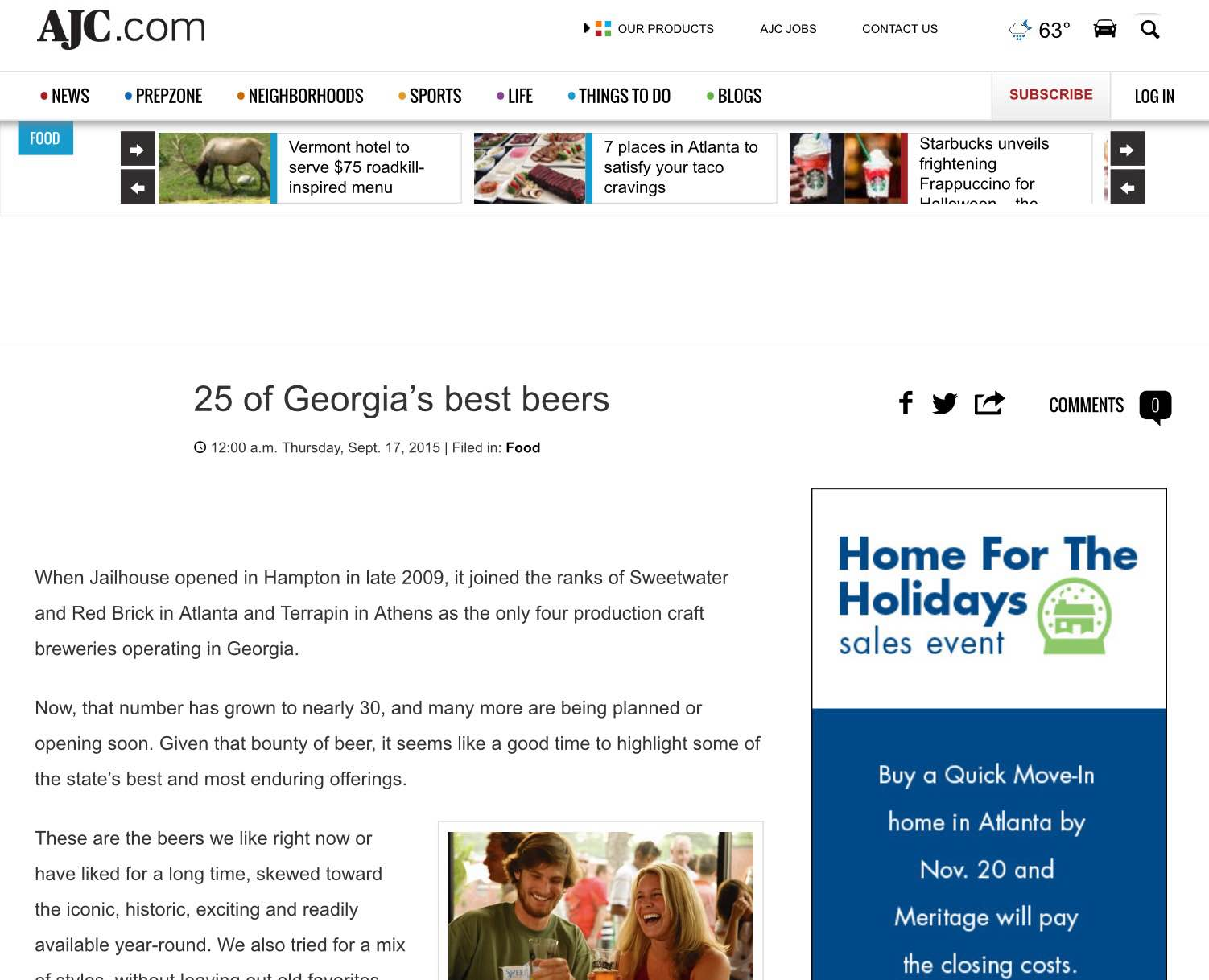 "AJC    , September 17th, 2015   ""25 of Georgia's Best Beers"""