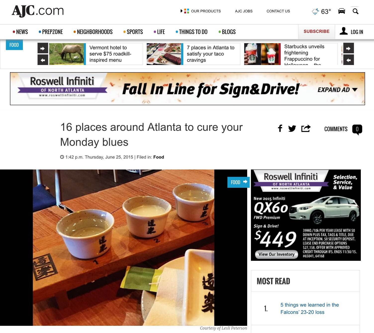 "AJC,     June 25th, 2015  ""16 places around Atlanta to cure your Monday blues"""