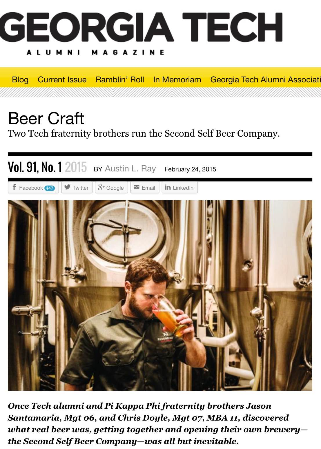 Georgia Tech Alumni Magazine,   February 24th, 2015,  Beer Craft