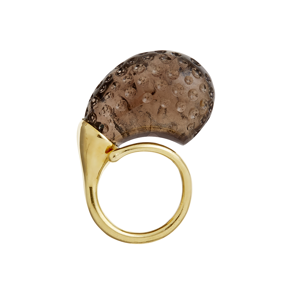 Gurmit Campbell's Rosebud Ring in 18 carat gold and smoky Topaz