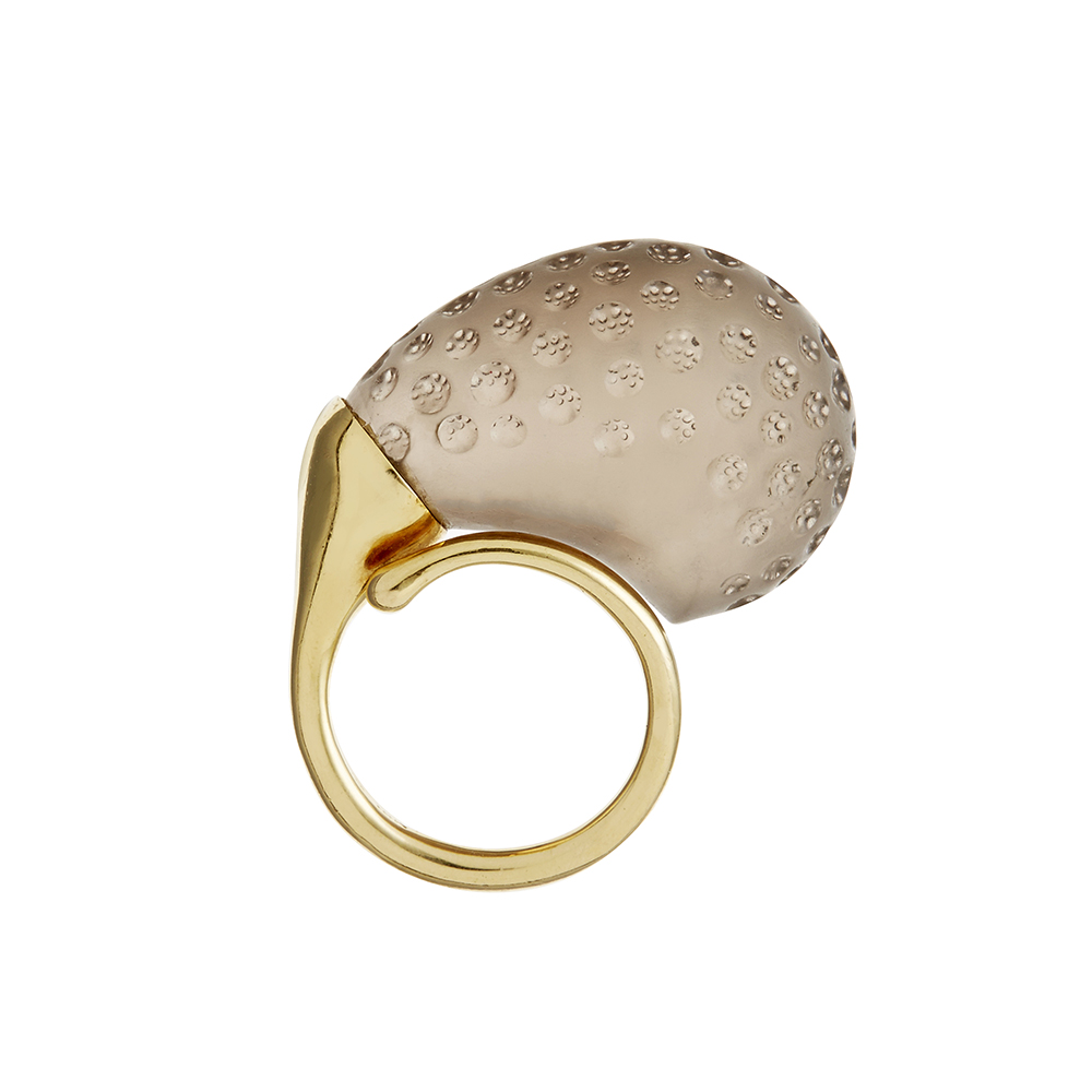 Gurmit Campbell's Rosebud Ring in 18 carat gold and light smoky Topaz