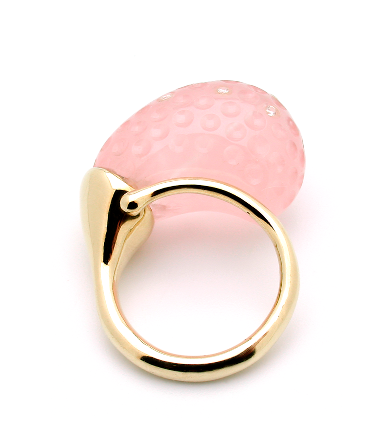 Gurmit Campbell's Rosebud Ring in 18 carat gold and Rose Quartz and diamonds