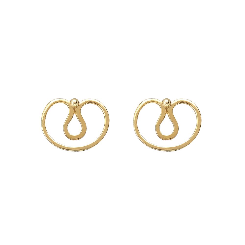 Gurmit's Yoni earrings  inspired by he yoni symbol. 18 carat  gold.