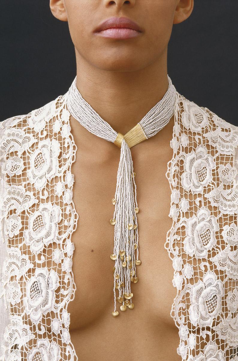 Gurmit's Zen Garden necklace in 18 carat gold & Murano glass beads.